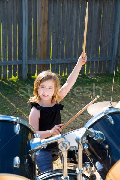 鼓手 孩子 女孩 播放 鼓 商業照片 © lunamarina