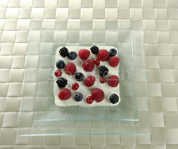 Mix of varied berries and cream Stock photo © lunamarina
