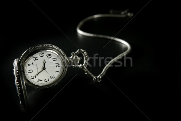 old silver pocket watch clock with chain Stock photo © lunamarina
