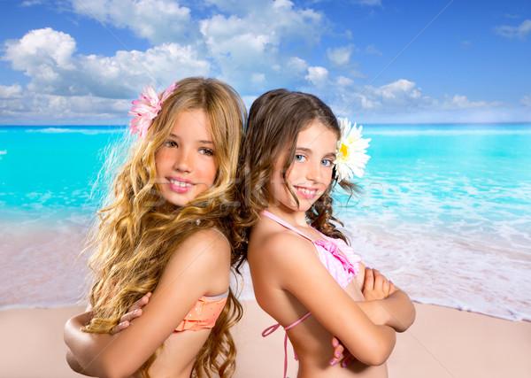 Foto stock: Crianças · dois · amigos · meninas · feliz · praia · tropical