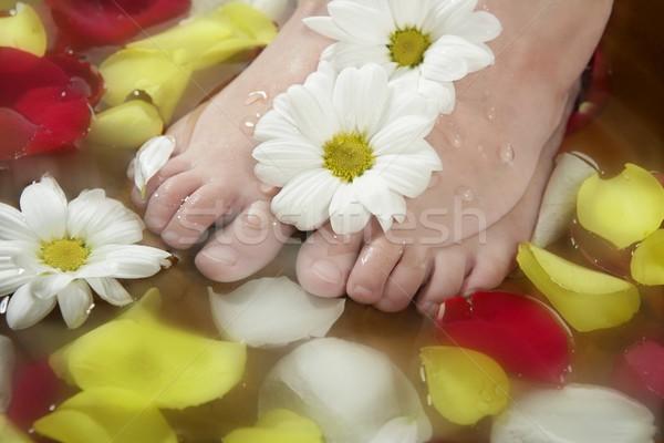 Aromaterápia virágok láb fürdőkád rózsa szirom Stock fotó © lunamarina