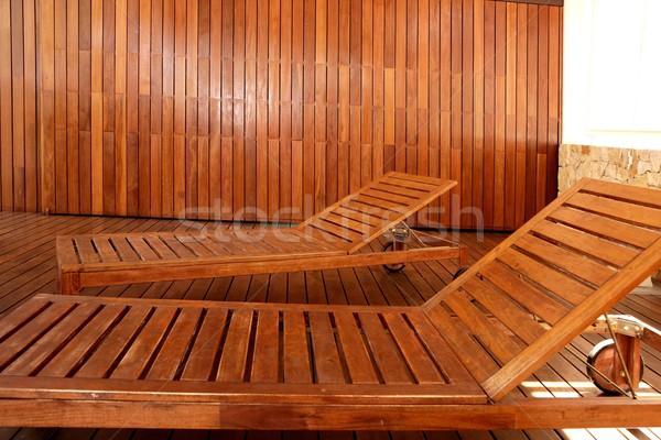 Altın ahşap spa hamak açık ev Stok fotoğraf © lunamarina