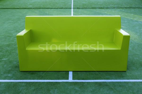 relax sport metaphor tennis paddle field sofa Stock photo © lunamarina