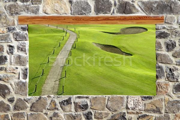 ストックフォト: 石 · メーソンリー · 壁 · ウィンドウ · ゴルフコース · 表示