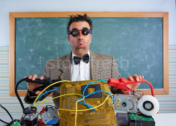 Stock fotó: Stréber · elektronika · technikus · retro · hülye · tanár