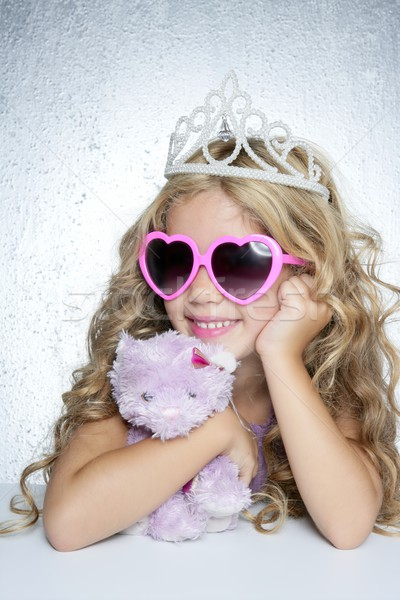 fashion little princess girl pink teddy bear Stock photo © lunamarina