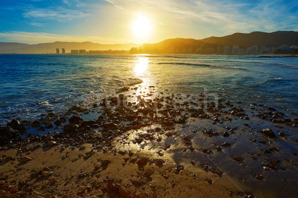 Praia pôr do sol Valência mediterrânico Espanha sol Foto stock © lunamarina