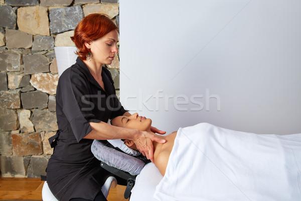 Head massage woman with physiotherapist Stock photo © lunamarina