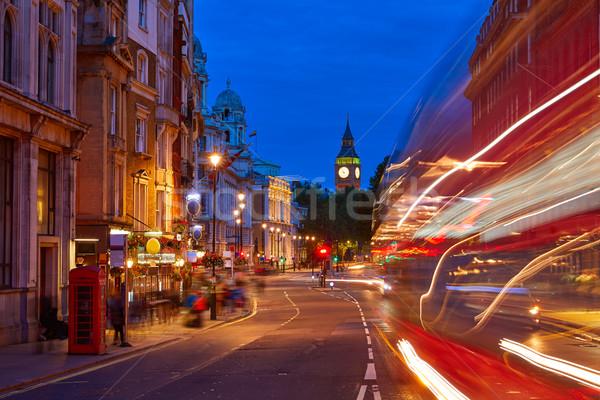 Londres Big Ben cuadrados tráfico semáforo puesta de sol Foto stock © lunamarina