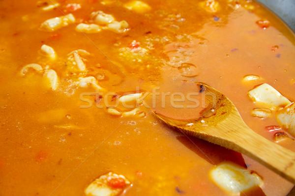 Tengeri hal Spanyolország recept hirdetés húsleves lépés Stock fotó © lunamarina