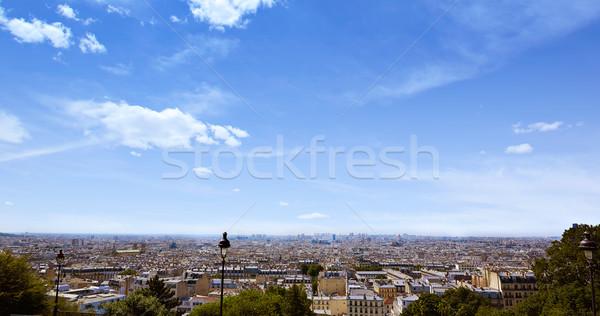 Párizs sziluett légi Montmartre Franciaország égbolt Stock fotó © lunamarina