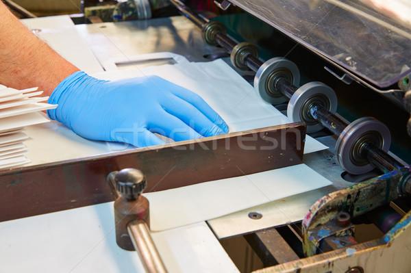 Stock photo: Flexo printing machine in a print factory
