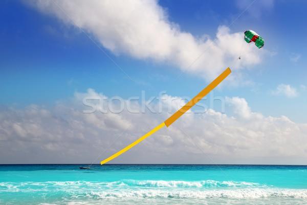 advertise beach parachute boat yellow copyspace Stock photo © lunamarina