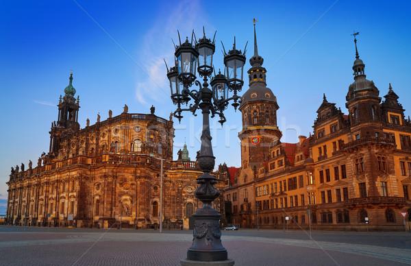 Dresden sunset Residenzschloss and Hofkirche Stock photo © lunamarina