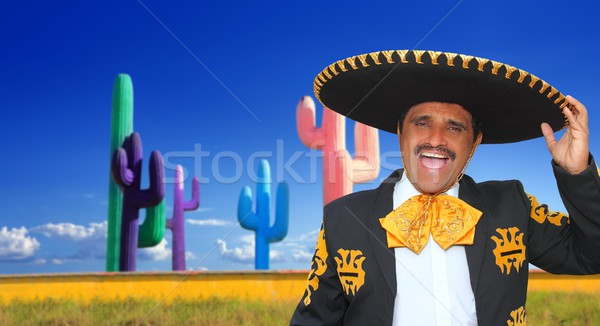 Mexican mariachi charro singing in cactu Stock photo © lunamarina