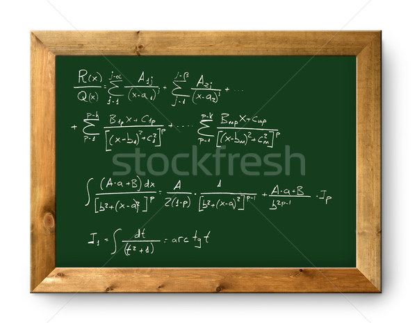 Foto stock: Conselho · verde · lousa · difícil · matemático · fórmula