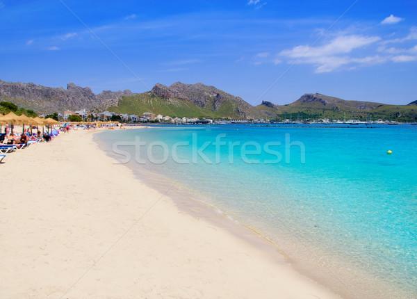 Pollensa sand beach in Mediterranean Mallorca island Stock photo © lunamarina