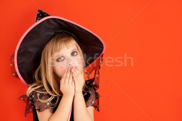Foto stock: Halloween · criança · menina · traje · laranja · festa