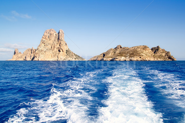 Es Vedra islet and Vedranell islands in blue Stock photo © lunamarina