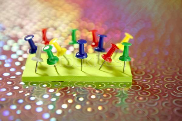 adhesive color notes with colorful pin Stock photo © lunamarina