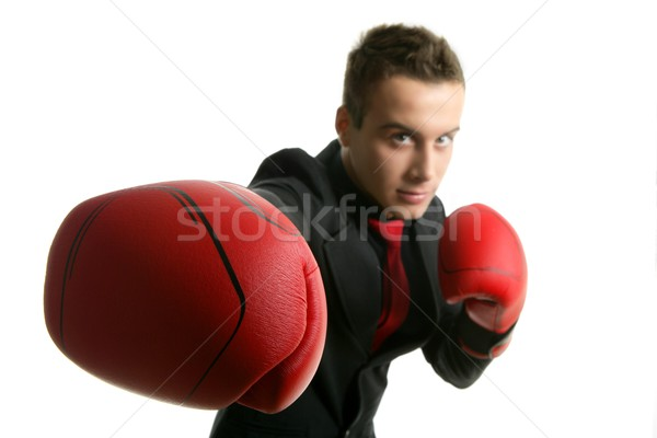 businessman whit red boxer gloves Stock photo © lunamarina