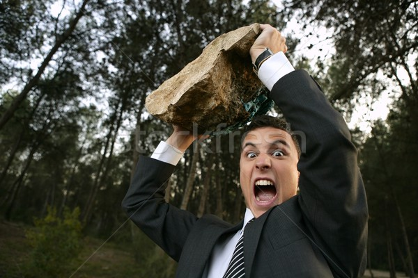 Angry businessman outdoor, big stone in hands Stock photo © lunamarina