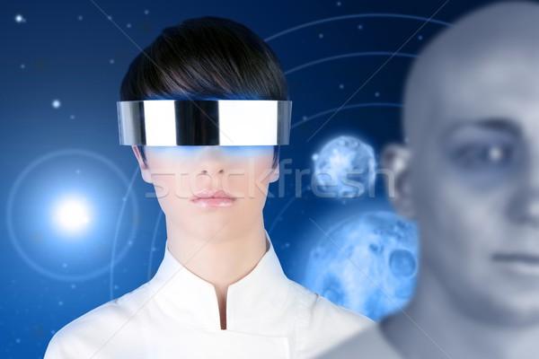 Сток-фото: серебро · футуристический · очки · женщину · пространстве · планеты