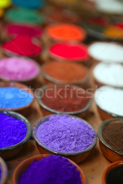 colorful powder pigments in rows Stock photo © lunamarina