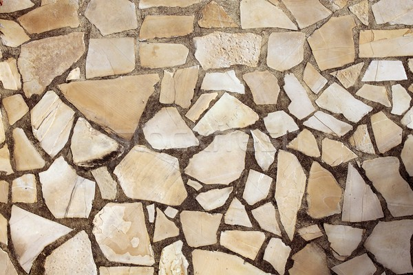 Stock photo: masonry rock stone tiles floor on the park