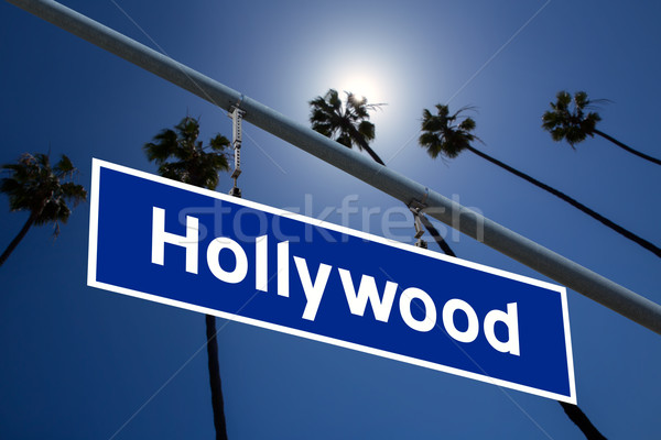 Hollywood Californie panneau routier arbres photo ciel Photo stock © lunamarina