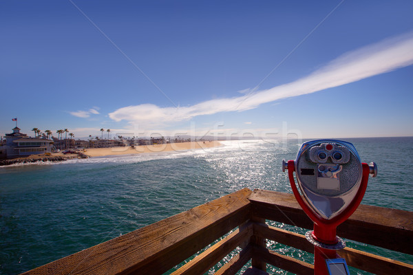 Newport beach in California view from pier telescope Stock photo © lunamarina
