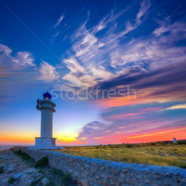 Barbaria Berberia Cape Lighthouse Formentera sunset Stock photo © lunamarina