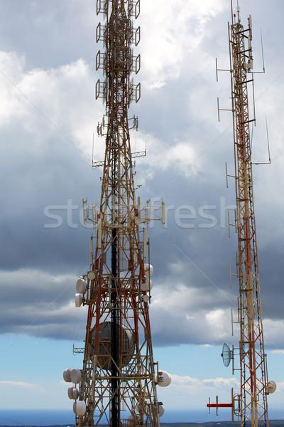 Telekomünikasyon kule telefonculuk gökyüzü telefon inşaat Stok fotoğraf © lunamarina