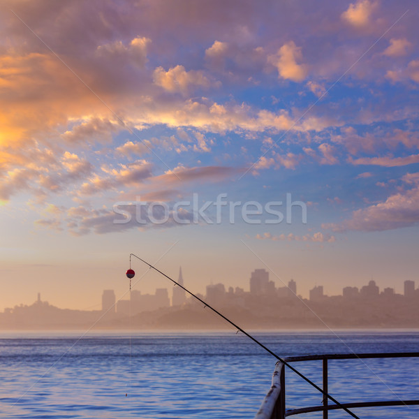 San francisco fog skyline with fishing rod in the mist Californi Stock photo © lunamarina