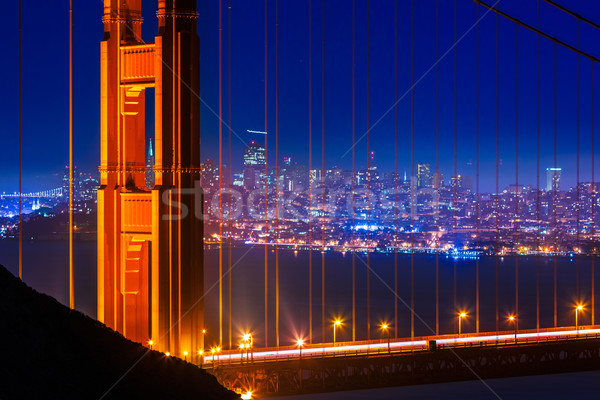 Golden Gate Bridge San Francisco tramonto cavi view California Foto d'archivio © lunamarina