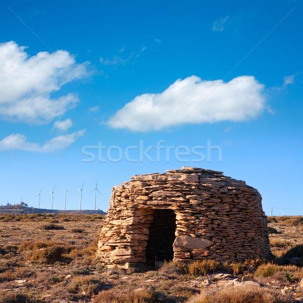 Maestrazgo shepherd shelter in Castellon Windmills Stock photo © lunamarina