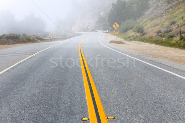Foggy road in Calfornia Pacific Highway 1 US 101 Stock photo © lunamarina