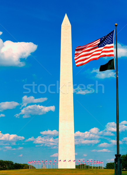 Washington Anıtı bayraklar ABD bölge Bina şehir Stok fotoğraf © lunamarina