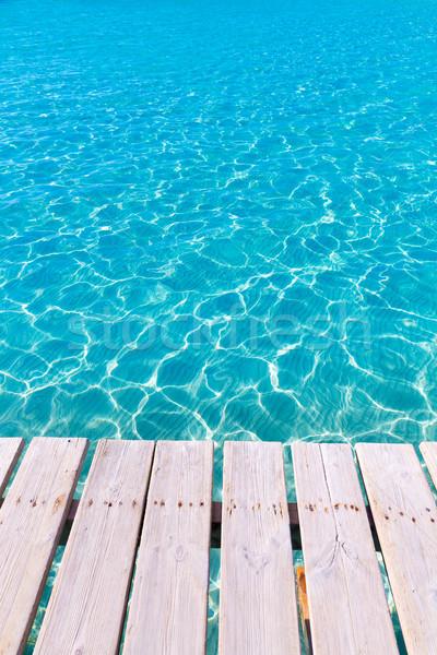 Trópusi tenger víz textúra fából készült móló Stock fotó © lunamarina