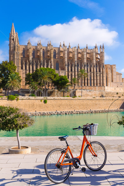 Majorca Palma Cathedral Seu and bicycle Mallorca Stock photo © lunamarina