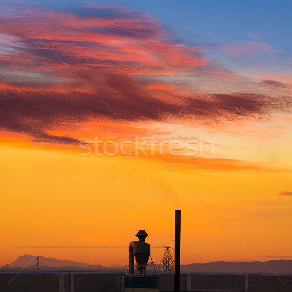Industriële schoorsteen zonsopgang Spanje Valencia hemel Stockfoto © lunamarina
