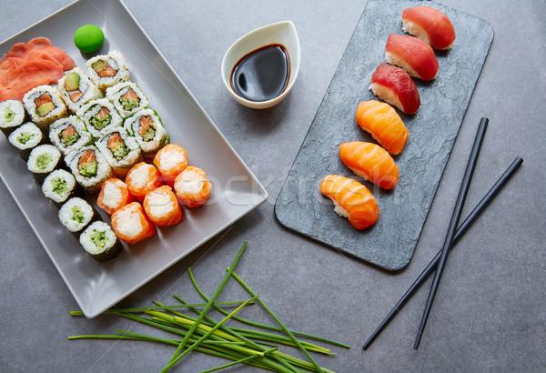 Sushi maki molho de soja wasabi Califórnia rolar Foto stock © lunamarina