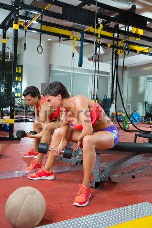 Pilates reformer woman roll up exercise Stock photo © lunamarina