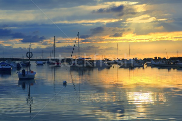 Estany des peix sunset lake Formentera Stock photo © lunamarina