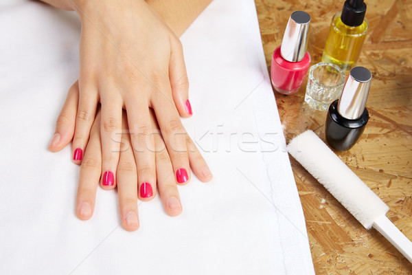 Before and after woman nails treatment in saloon Stock photo © lunamarina