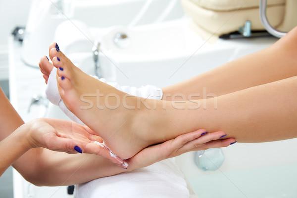 Pedicure voet dode huid vrouw Stockfoto © lunamarina