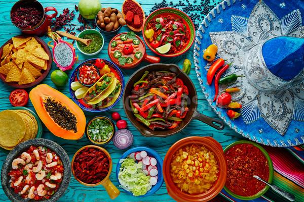 Mexikói étel keverék színes Mexikó szombréró étel Stock fotó © lunamarina