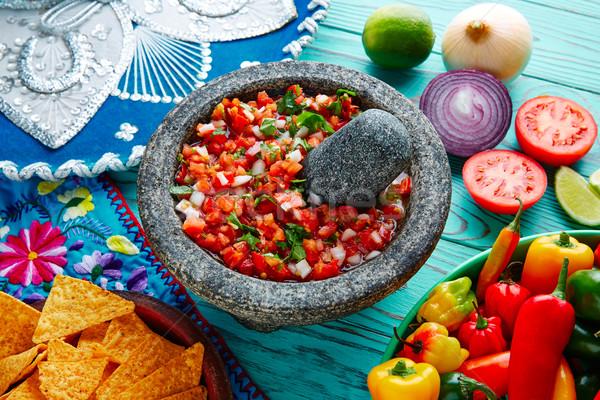 Molho México tomates cebola madeira azul Foto stock © lunamarina