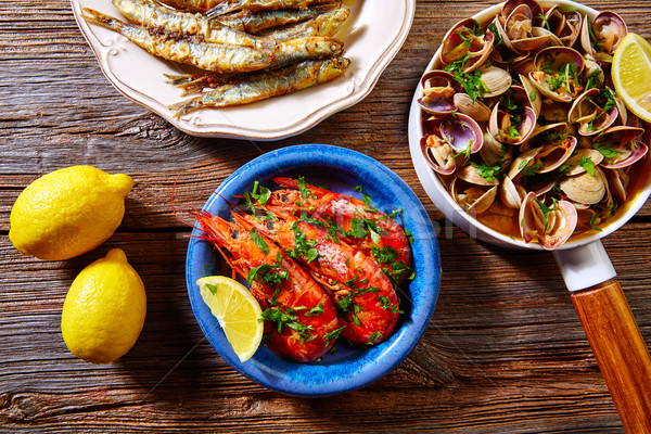 Spanish seafood tapas clams anchovies shrimps Stock photo © lunamarina