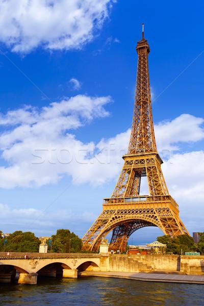 Eiffel-torony naplemente Párizs Franciaország égbolt épület Stock fotó © lunamarina